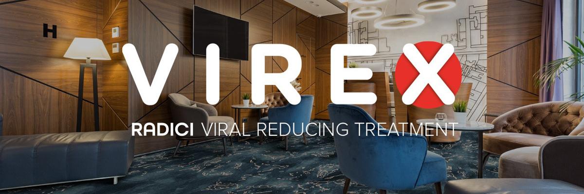 Didžiuojamės galėdami jums pristatyti VIREX - COVID-19 viruso plitimo stabdymo technologiją, SARS-COV-2 virusinę apkrovą ant natūralaus pluošto sunaikinančią 99,9%, o ant sintetinio pluošto 99.4%.